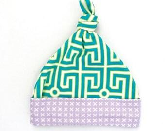 Greek Key Organic Cotton Baby Hat, Turquoise Geometric Newborn Top Knot Hat, Modern Beanie, Baby Shower Gift, Gift for Mom, Blue Girl Hat