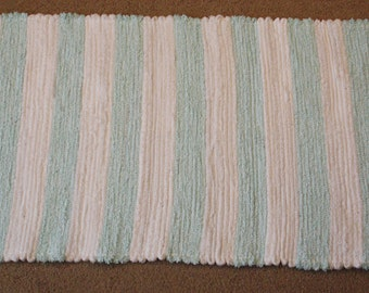 Handwoven Rag Rug: White and Light Teal Stripes, Terrycloth and Chenille  - 45 inches....(#143)