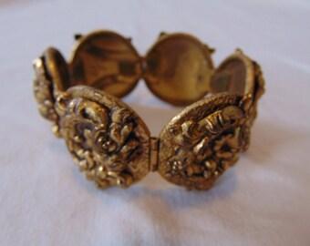 vintage gold floretine bracelet wide ornate