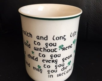 CARRIGDHOUN Ireland Pottery Mug Coffee Cup St. Patrick's Day Irish Blessing Shamrock Clover
