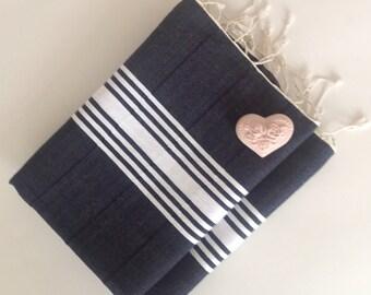 Set of 2 Natural Turkish hand towel, Tea Towel, BATH towel, Peshkir , cotton ,spa, yoga, soft baby, navy , valentine's day , gift