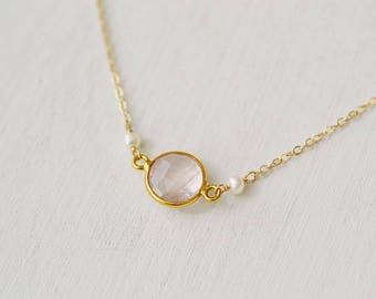 Rose Quartz Necklace, Wedding Jewelry,Freshwater Pearls, Gold Fill Necklace, Bridesmaid Gift, Gemstone Necklace