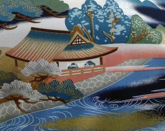 Japanese landscape, navy blue, gold metallic, 1/2 yard, pure cotton fabric