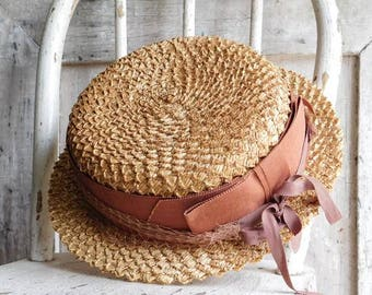 Vintage Straw Boaters Hat with Ribbons