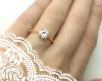 Solitaire  rose gold engagement ring set with white sapphire, 14K rose gold ring, diamond like stack ring, natural gemstone 1 carat ring
