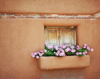 Southwestern Window Photography Print Fine Art New Mexico Santa Fe Rustic Flowers Adobe Southwest Autumn Landscape Photography Print.