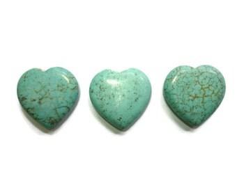 Turquoise Magnesite - Large Puffed Heart - 30mm x 30mm - 3 beads - set  #1 - Pendant or Focal Bead - Blue Aqua