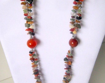 Vintage Double Strand Multi Color Glass Bead Necklace