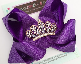 "Mardi Gras Bow - Mardi Gras Hairbow-  Queen of Mardi Gras -- shimmery purple double bow with large crown center - Choose 5"" or 6"" bow"