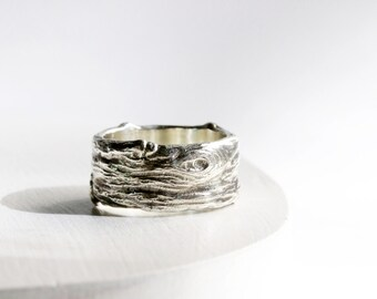 Mens Silver Branch Band Ring, Wide Mens Silver ring, Mens Wedding Ring, Mens Branch Ring-style 8