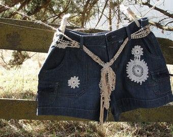 Jean shorts with vintage doily lace, boho clothing, gypsy clothing, lace shorts, summer shorts