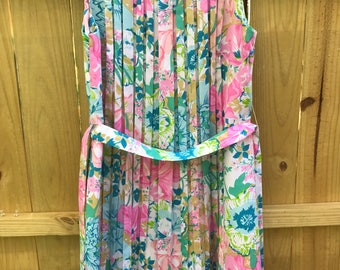 Ladies Tanner Of North Carolina Floral Pleated Dress Circa 60s Pastel Floral Day Dress