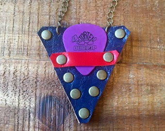 Guitar Pick Holder Necklace - Leather Case - Blue and Red - Guitar Accessories - Leather Jewelry for Him or Her