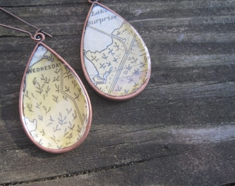 Vintage Copper Nautical Chart Map Florida Keys Dangle Drop Earrings