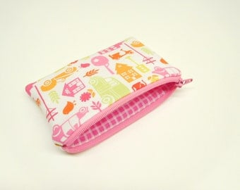 pink orange red change purse, yellow pink coin purse, pink kids change purse, car zipper pouch, cars and houses zipper bag, small wallet