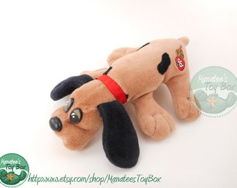 Small 80s Pound Puppy by Tonka: Tan with Black Ears