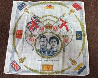 King George Vl Coronation handkerchief origina unused, unwashed