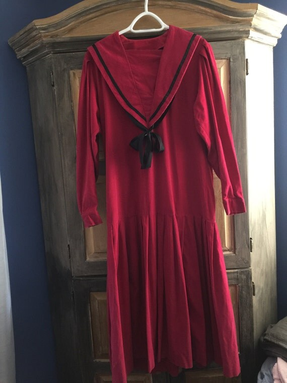Vintage Laura Ashley Sailor Dress in Red Pinwale Corduroy With a Dropped Waist USA size 10