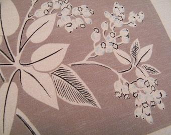 "Vintage Mid Century California Hand Prints Tablecloth 45"" x 52"" Chocolate Brown"