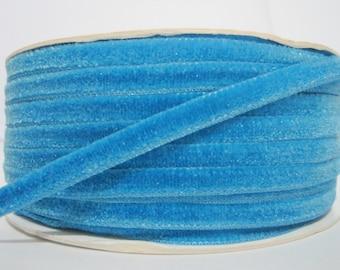 "5 yards 1/4"" Turquoise Velvet Ribbon, Blue Ribbon, Ribbon lot, Wholesale Ribbon, Blue Velvet trim, Blue Velvet Ribbon, blue trim, navy blue"