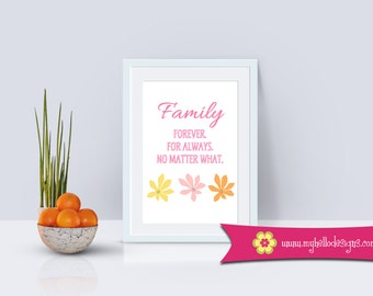 Home Wall Art Decor - Print Quote Family Forever For Always Simple Decoration Flower Kitchen Dining Foyer Entry Home House Love