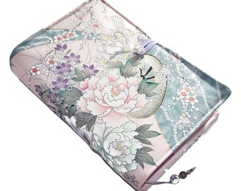 Large Padded Bible Cover, Silk Kimono Fabric, Suitable for Hardback or Paperback Books, Komon Design of Flower Carriages, UK Seller