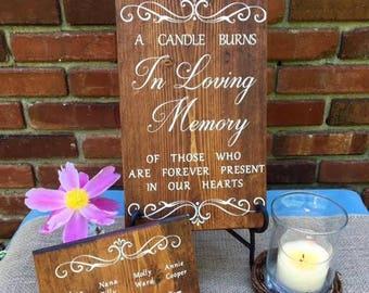 In Loving Memory, Memorial Tribute Wedding Sign