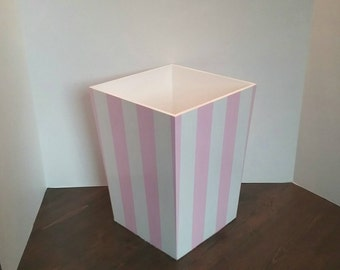 Pink waste basket etsy for Bedroom waste baskets decorative