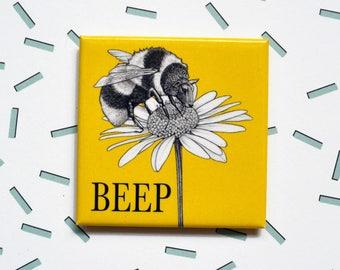 "Beep Magnet, Bee Sheep, 2"" Square Metal Fridge Magnet, Hybrid Animals, Portland OR, Funny Bee Gift"