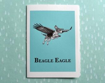 "Beagle Eagle Greeting Card, Beagle + Eagle Hybrid Animal, 5x7"" Blank Card, Portland OR, Flying Beagle Gift"