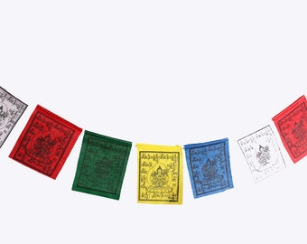 Om Mani Padme Hum Cotton Tibetan Baby Prayer Flags of Chenrezig PF46