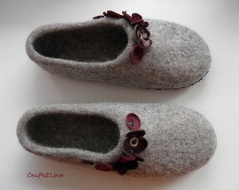Wool felt slippers, gray wool slippers, felted wool,  leather soles, women house shoes, small red flowers