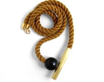 SALE - Otoño - Caramel Mokuba rope, brass tube and wooden ball
