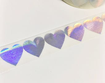 Bright Shiny Metallic Rainbow Foil Silver Foil Large Hearts Washi Tape 11 yards 10 meters 15mm
