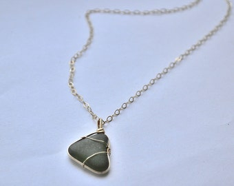 Gold Filled Necklace Green Sea Glass Heart from Greece