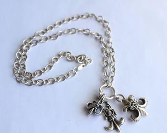 Sterling Silver Fleur de Lis Necklace - Three Charms - Detailed pendants