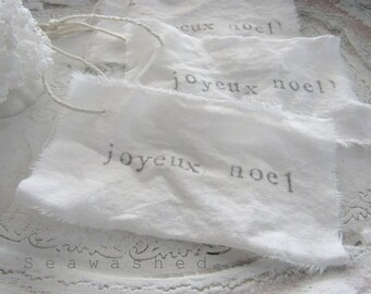 JOYEUX NOEL TAGS Cotton Linen Christmas Tags French Nordic Jeanne D Arc Living Style Shabby Chic Seaside Holidays
