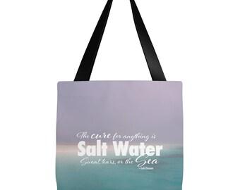 Beach Tote Bag | Sea Quote Tote Bag | Scuba Diver Tote Bag | Scuba Diver Gift | Beach Tote Bag | 16 x 16 tote bag, 18 x 18 tote bag