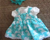 """Glitter Blue White Bunny Rabbit & Bees Print Jumper  Shirt Headband Booties  Fits Bitty Baby, Bitty Twins or Other 15"""" Baby Doll"""