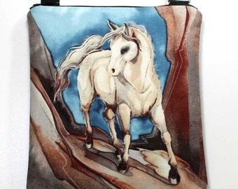 Horse Crossbody Bag - Sling Bag - Cross Body Shoulder Purse - Horse Bag - Horse Purse - Horse Hobo Bag - Zipper Crossbody Bag  Ready To Ship