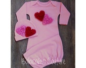 Newborn Girl Valentine Outfit, Newborn Girl Take Home Outfit, Baby Sleeper Gown & Beanie Babys 1st Valentine, Newborn Valentine Heart Outfit