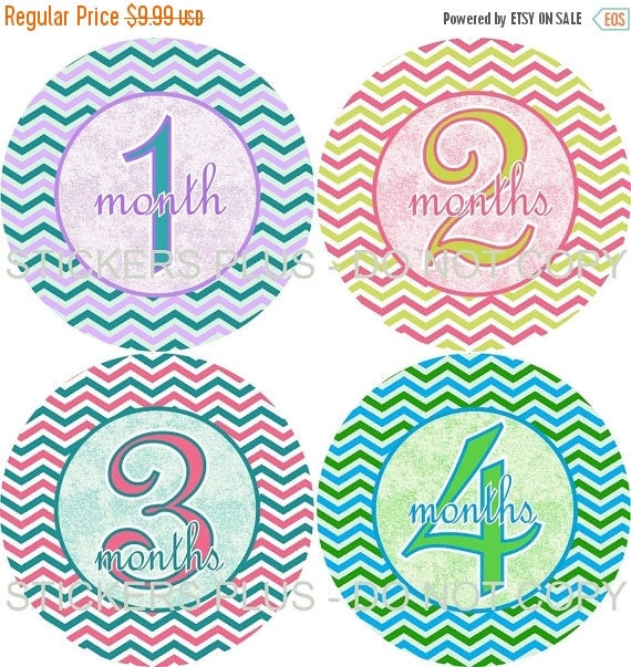 SALE Baby Girl Monthly Milestone Stickers    - Colorful Chevron Blue Pink Green Lilac Yellow  - 1-12 Months - Shower