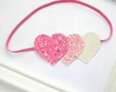 Valentines Headband - Heart Headband - Baby Heart Headband - Glitter Heart Headband - Valentines Headband - Baby Valentines Headband