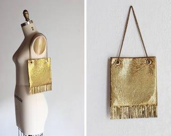 Vintage 1970s Ocean Drive Mesh Purse / Gold Purse