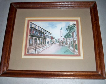 Vintage Charleston, S.C. Water Color Painting By Bonnie Hayden