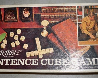 Vintage 1971 Scrabble Brand Sentence Cube Game