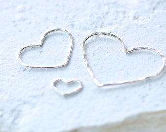 Silver Love Heart Connectors Pendants - Set of 3