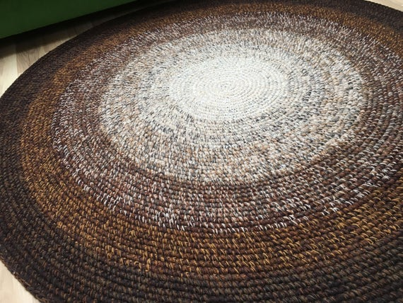 Beautiful brown crochet round rug, 51 inches in diameter, READY To Ship