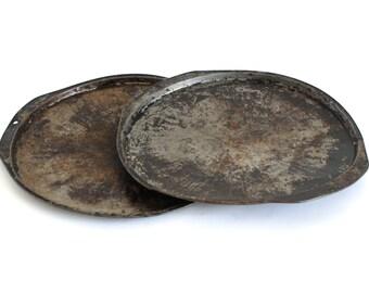 "Round Metal Pizza Pans Ekco 12"" Distressed Bakeware, Food Photography Props, Vintage Darkened Seasoned"