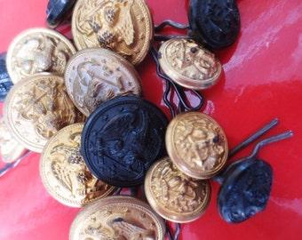 Vintage Military Buttons Brass Black Eagle WWII Antique Set (16)